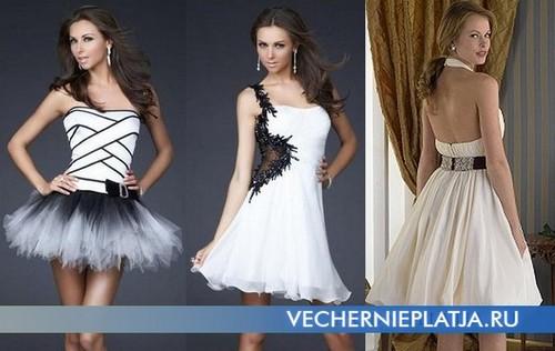 Не менш популярні однотонні короткі сукні з пишною спідницею. Як декор  таких суконь виступають прикраси з тканини і каменів c31190cca1fff