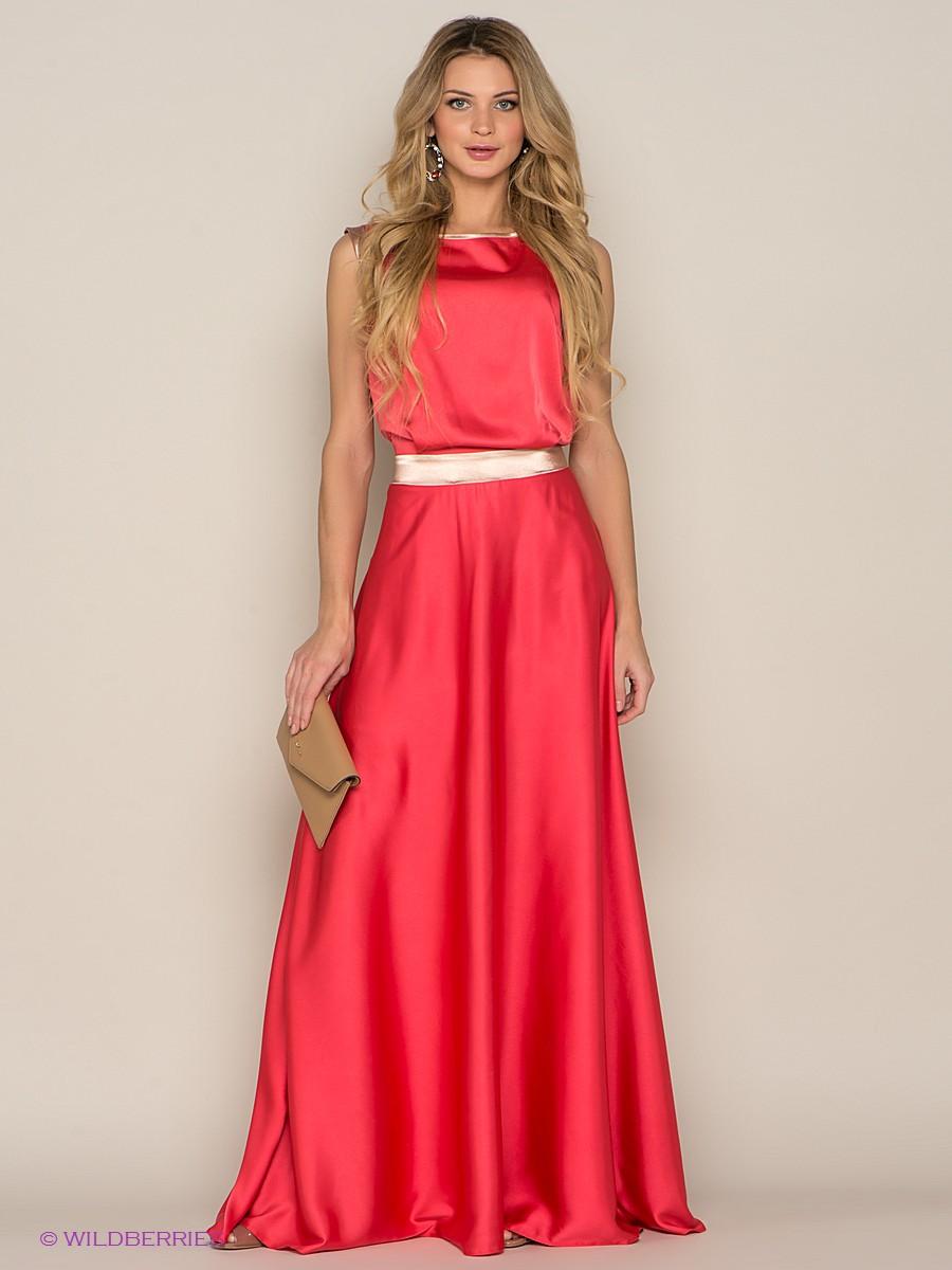 Korálové šaty s béžovým opaskem. Korálové šaty na podlahu. 5c9bff67c8