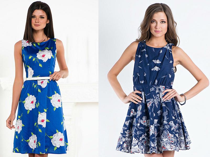 Не менш цікаво виглядають літні сукні темно-синього кольору з білими  квітами. Фасон такої сукні може бути будь-яким. Сьогодні в моді моделі з  вирізом у ... b4cf6c8490942