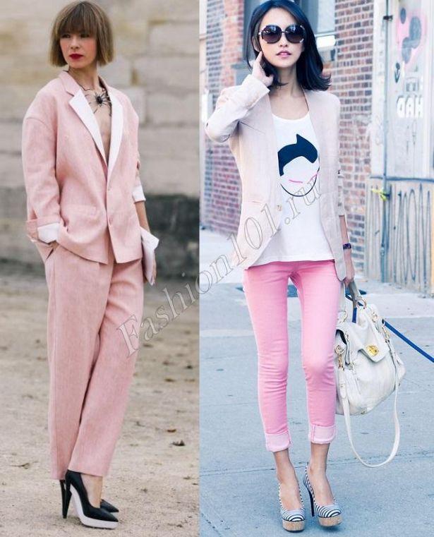 Не знаєте з чим носити рожеві джинси  Підберіть під них білу футболку і  блідий сіро-бежевий блейзер. До рожевому ділового костюма двійці слід  надягати модні ... e9e72ab4ede06