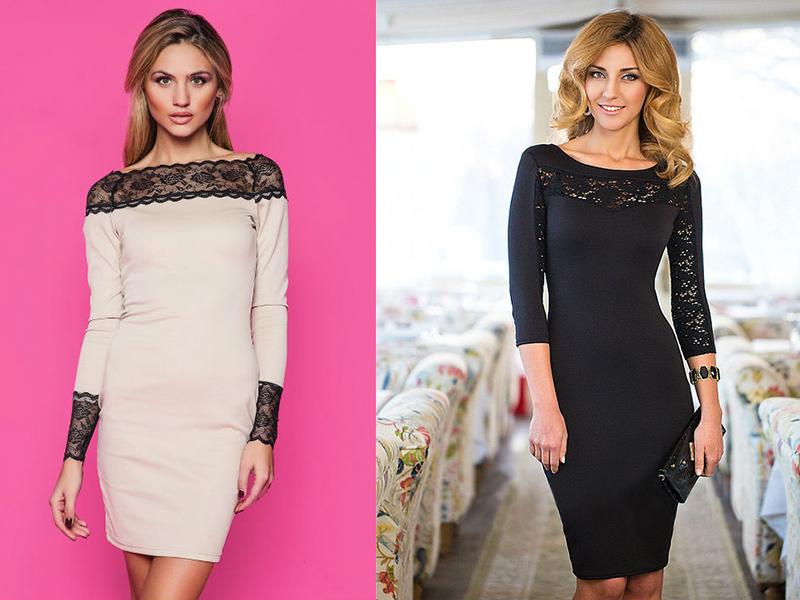 Вишукано і стильно виглядає трикотажна сукня-футляр з мереживом. Це  святковий варіант 7160293f3f318