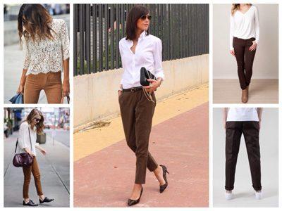 Kaj obleči z rjavimi hlačami. Če potrebujete bel vrh. Poslovni in ... 15f3d6f6b5