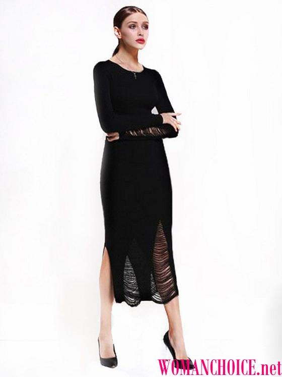 32966a2709ae Το μήκος του μαύρου πλεκτού φόρεμα μπορεί να είναι διαφορετικό  maxi