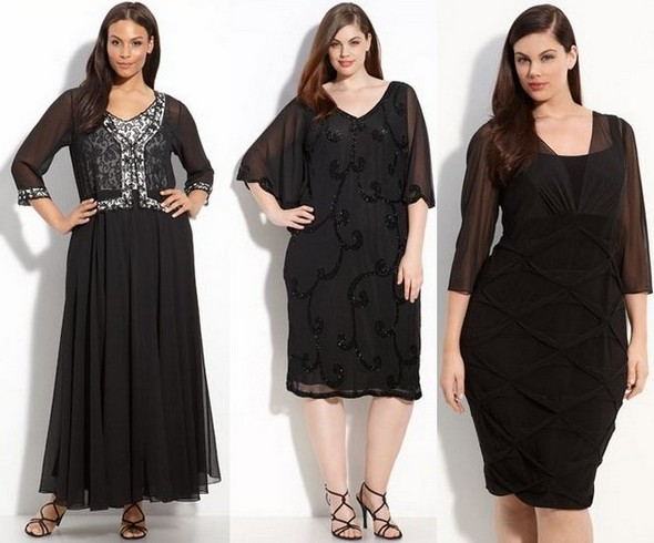 Романтично виглядають мереживні і в язані сукні для повних чорного кольору.  У цьому сезоні також популярні короткі з чорним мереживом 25f7f10d32a51