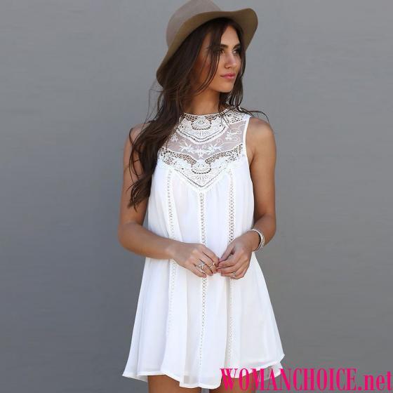 Η πιο θηλυκή επιλογή είναι ένα λευκό φόρεμα με ανοιχτούς ώμους και δαντέλες  στη δαντέλα και στην άκρη της φούστας. Το λευκό συνδυάζει με οποιοδήποτε  χρώμα 3cb1a040364