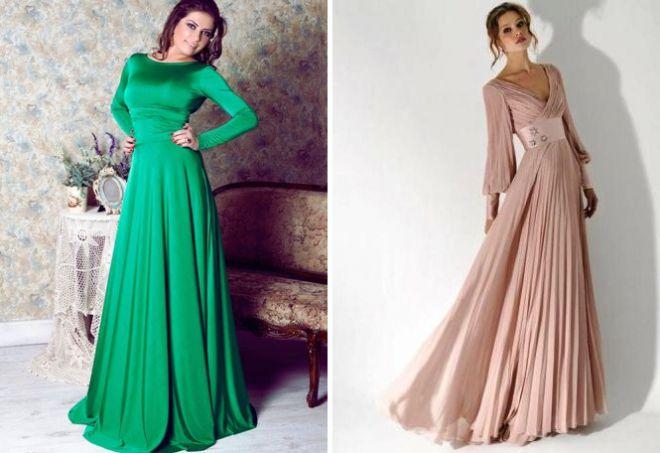 1341a78a542 Krásné dlouhé šaty s rukávy. Dlouhé šaty s dlouhým rukávem jsou ...